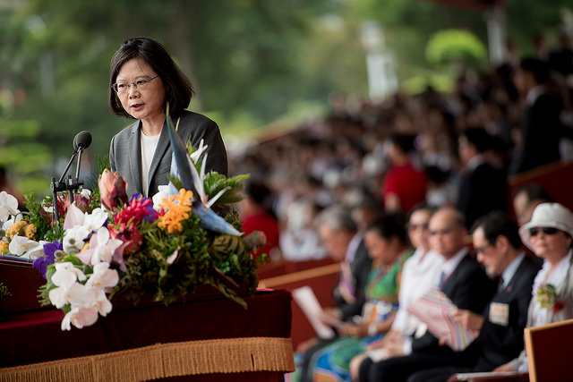 New Southbound Policy。President Tsai Ing-wen delivers her National Day address marking the 106th anniversary of the Republic of China (Taiwan) Oct. 10 in Taipei City. (Courtesy of Office of the President)