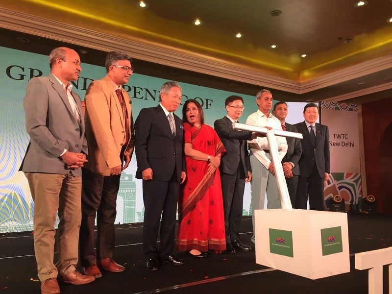 """Ambassador Tien attended """"Opening Ceremony of Taipei World Trade Center New Delhi"""" and delivered the welcome remarks Photos - New Southbound Policy"""