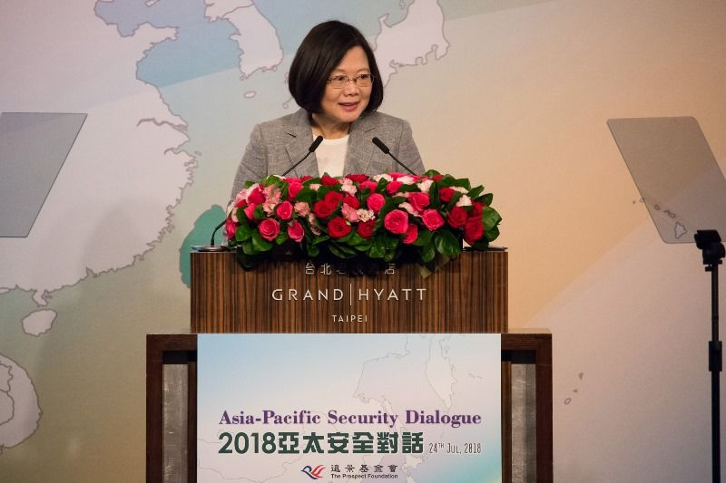 New Southbound Policy。President Tsai Ing-wen reiterates Taiwan's commitment to promoting peace, stability and prosperity during her opening address at the Ketagalan Forum: 2018 Asia-Pacific Security Dialogue July 24 in Taipei City. (Staff photo/Chin Hung-hao)