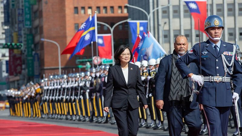 President Tsai welcomes Nauru President Lionel Aingimea and First Lady Aingimea with military honors Photos - New Southbound Policy