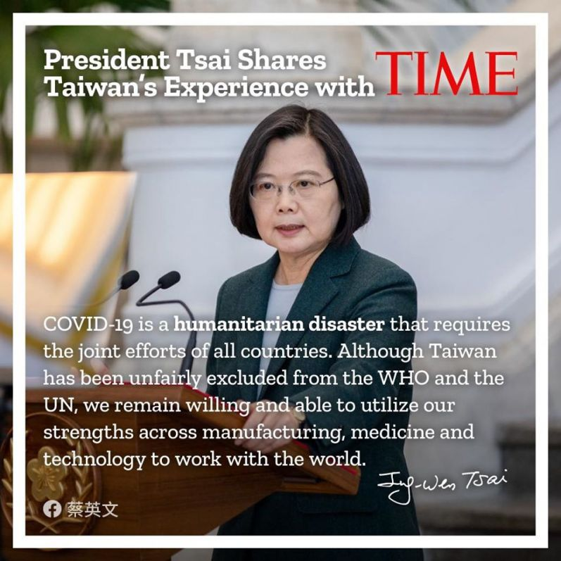 Präsidentin Tsai spricht in Time über Taiwans Umgang mit COVID-19