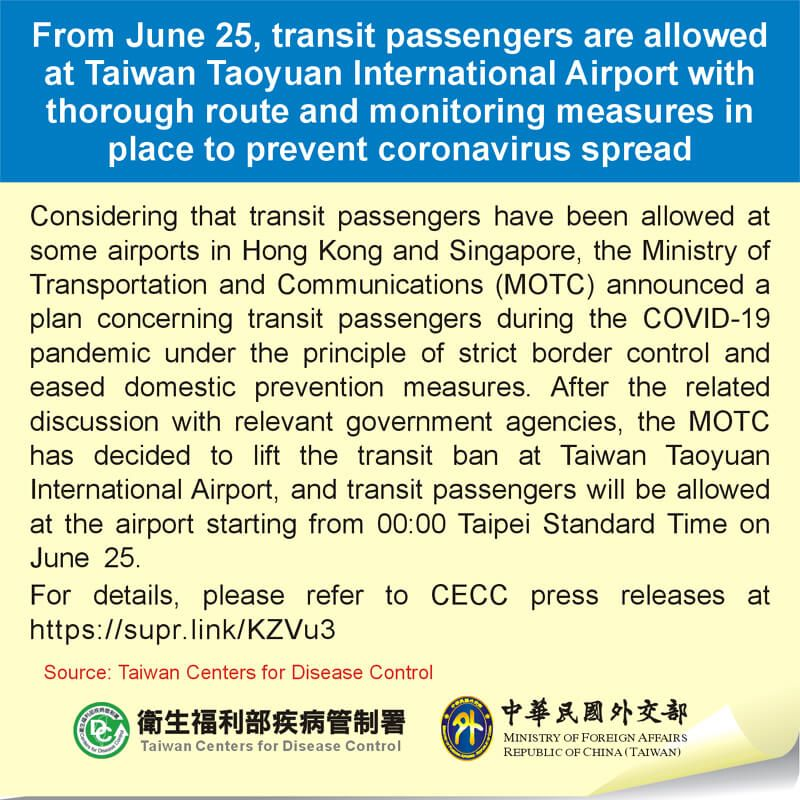 From June 25, transit passengers are allowed at Taiwan Taoyuan International Airport with thorough route and monitoring measures in place to prevent coronavirus spread Photos - New Southbound Policy