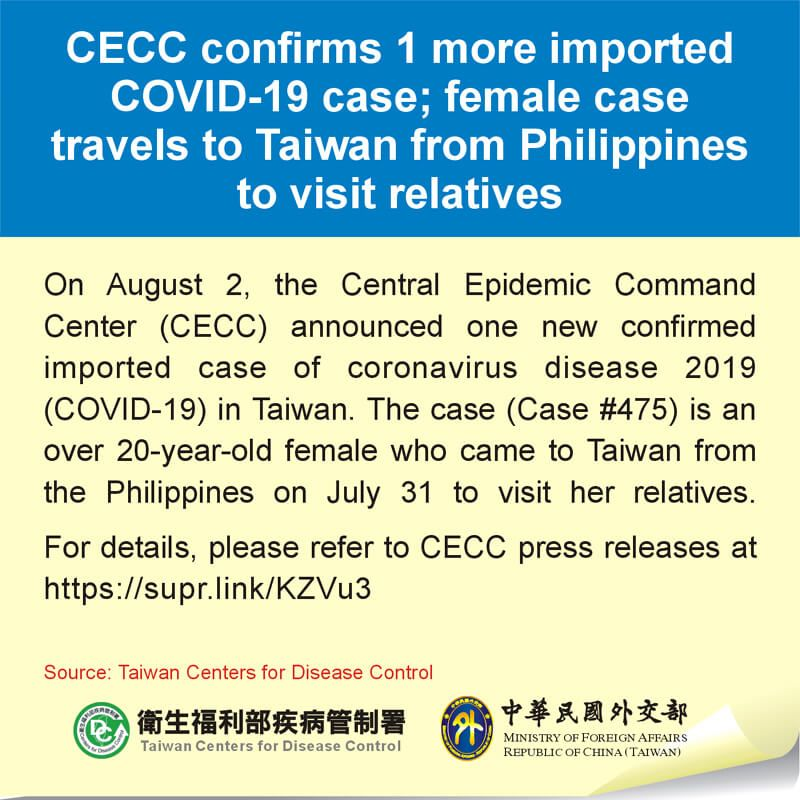 CECC confirms 1 more imported COVID-19 case; female case travels to Taiwan from Philippines to visit relatives Photos - New Southbound Policy