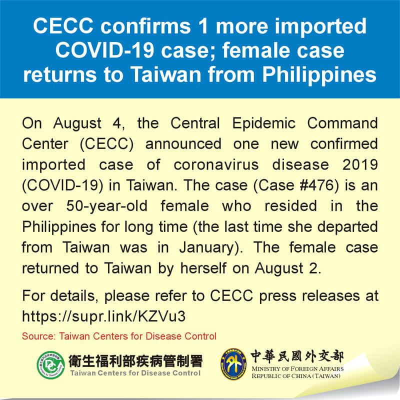 CECC confirms 1 more imported COVID-19 case; female case returns to Taiwan from Philippines Photos - New Southbound Policy