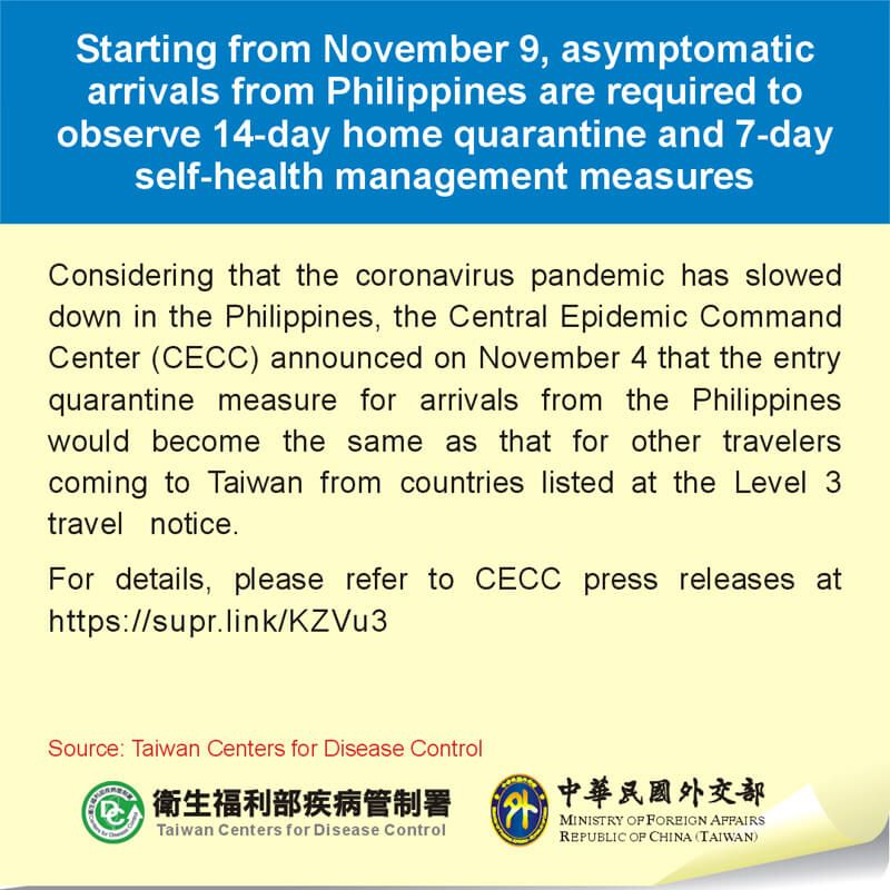 Starting from November 9, asymptomatic arrivals from Philippines are required to observe 14-day home quarantine and 7-day self-health management measures Photos - New Southbound Policy