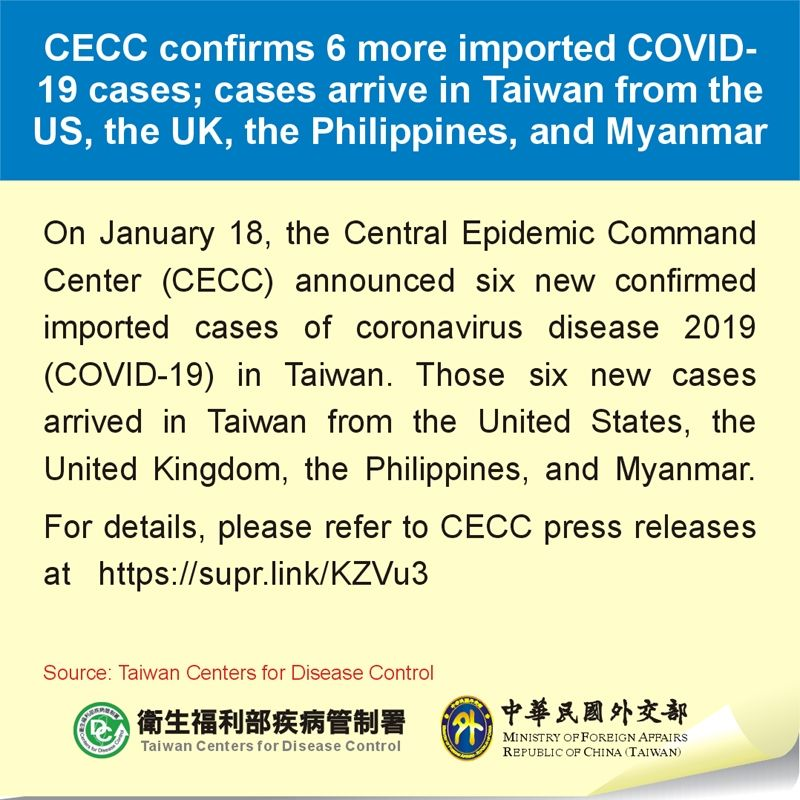 CECC confirms 6 more imported COVID-19 cases; cases arrive in Taiwan from the US, the UK, the Philippines, and Myanmar Photos - New Southbound Policy
