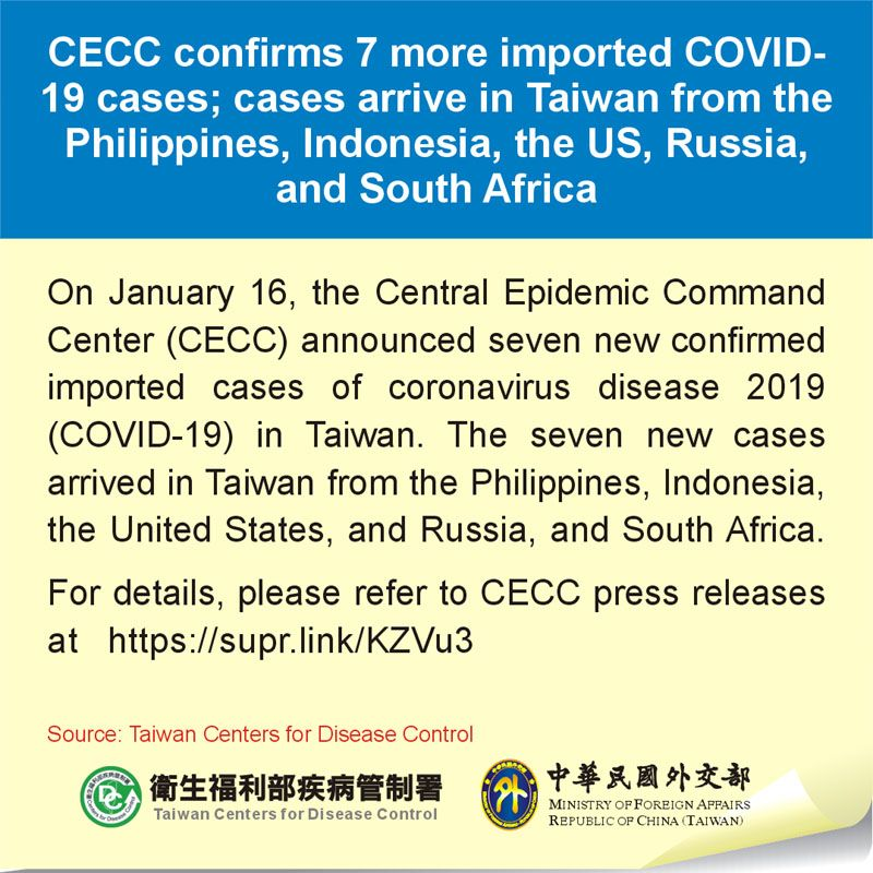 CECC confirms 7 more imported COVID-19 cases; cases arrive in Taiwan from the Philippines, Indonesia, the US, Russia, and South Africa Photos - New Southbound Policy