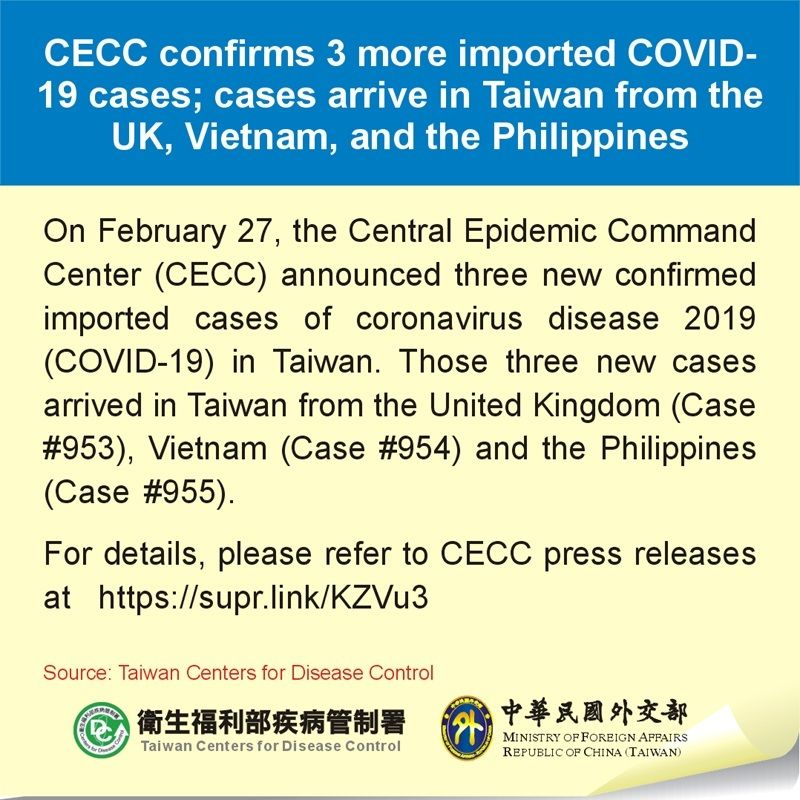 CECC confirms 3 more imported COVID-19 cases; cases arrive in Taiwan from the UK, Vietnam, and the Philippines Photos - New Southbound Policy