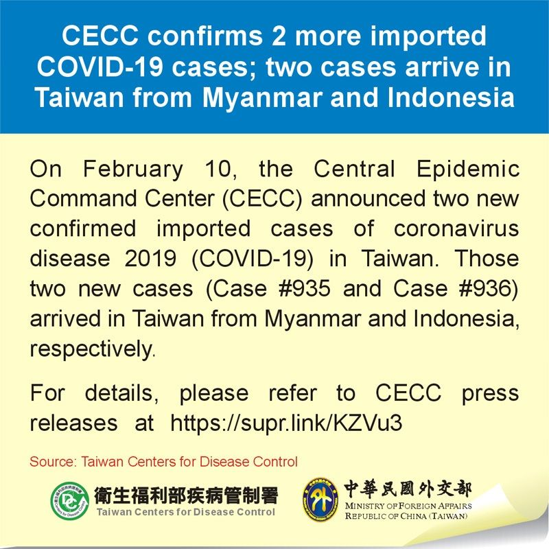 CECC confirms 2 more imported COVID-19 cases; two cases arrive in Taiwan from Myanmar and Indonesia Photos - New Southbound Policy