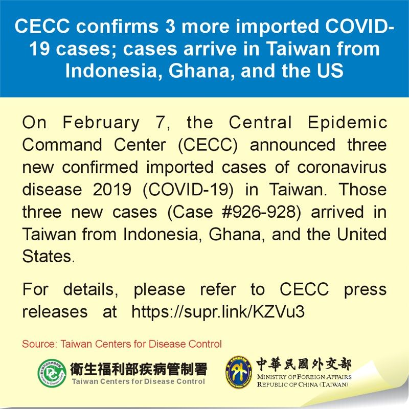 CECC confirms 3 more imported COVID-19 cases; cases arrive in Taiwan from Indonesia, Ghana, and the US Photos - New Southbound Policy