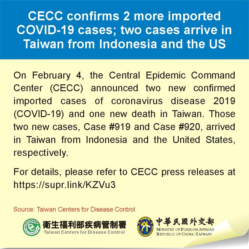 CECC confirms 2 more imported COVID-19 cases; two cases arrive in Taiwan from Indonesia and the US Photos - New Southbound Policy