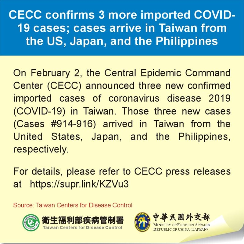 CECC confirms 3 more imported COVID-19 cases; cases arrive in Taiwan from the US, Japan, and the Philippines Photos - New Southbound Policy