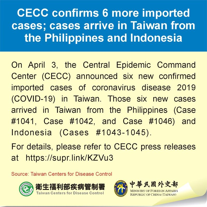 CECC confirms 6 more imported cases; cases arrive in Taiwan from the Philippines and Indonesia Photos - New Southbound Policy