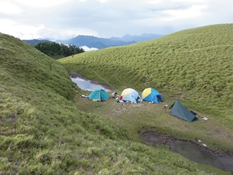 "The research team's base camp at ""Exclamation Pond.""  They generally spend up to a fortnight at the camp."