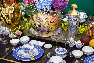 """In 2015 Tai-Hwa designed """"Excellent Esthetics,"""" exclusive blue-and-white tableware that is used in ROC embassies and consulates overseas for official dinners. (courtesy of Tai-Hwa Pottery)"""