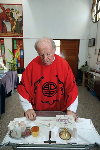 Sacred objects used by Fr. Fournier when he performs mass beyond the walls of his church.
