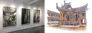 Opera stage at the Lin Family Mansion in Wufeng: The juxtaposition of Juan I-jong's photos (left, courtesy of Yilan City Office) and Li Chien-lang's handpainted version (right, courtesy of Li Chien-lang) suggests the mansion's rich history.