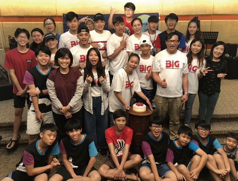 Members of The Big Change Band, supporters, disadvantaged youngsters and staff members are all smiles at the Daniel Training Center in Selangor Aug. 8, 2018, in Malaysia. (Photo courtesy of The Big Change Band)