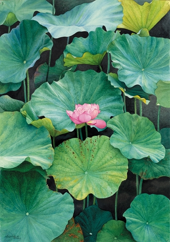 With its transcendent beauty, this red lotus flower amidst the intense green of the plant's leaves cuts a gorgeous figure as it sways in the wind. The photo shows a watercolor painting entitled Standing Out from the Crowd.