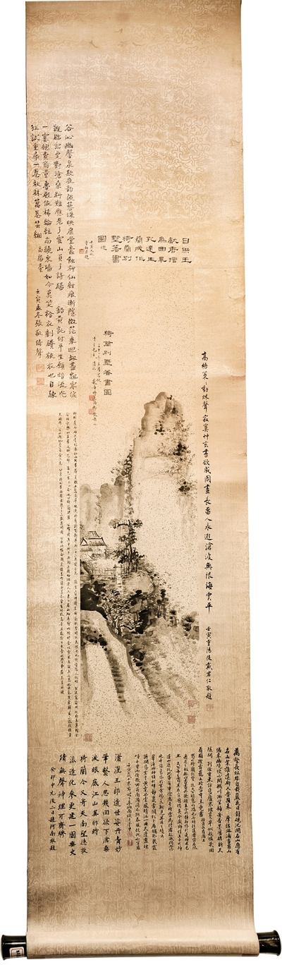"20th-century calligraphy master Wang Xiantang's ""Yilan Mansion,"" with inscriptions by Tai Jingnong, Zhang Jing, Dai Junren, Qu Wanli, Li Bingnan and Zhao Anan."