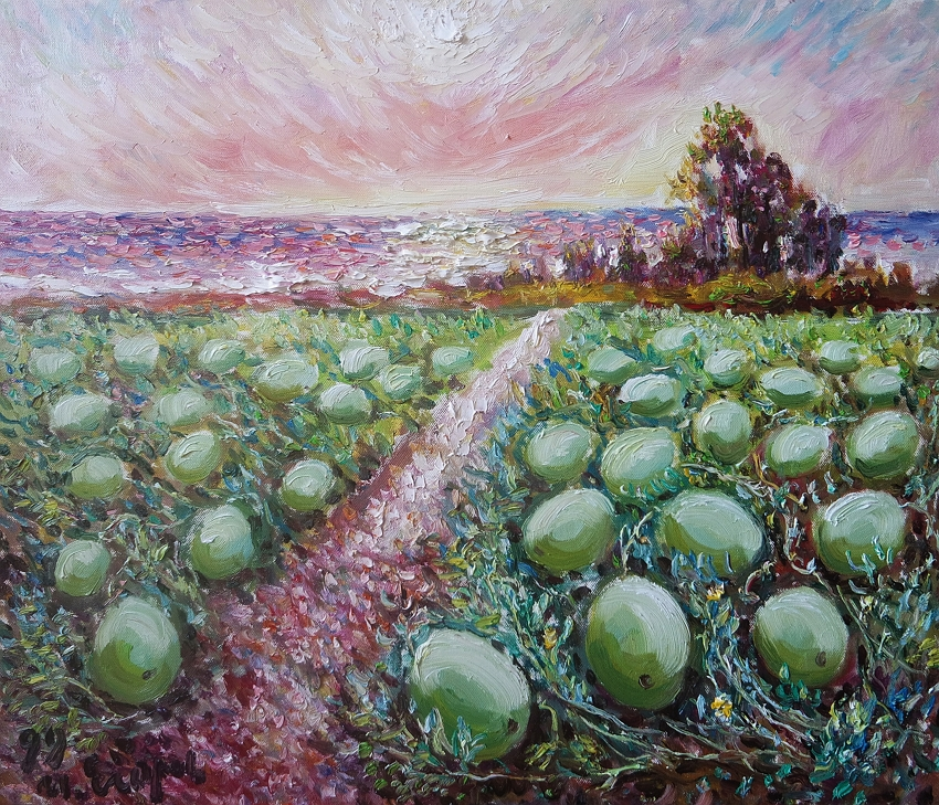 Ivan's art is infused with a Taiwanese flavor: What joy is conveyed by these round melons! (courtesy of Art of Ivan Yehorov)