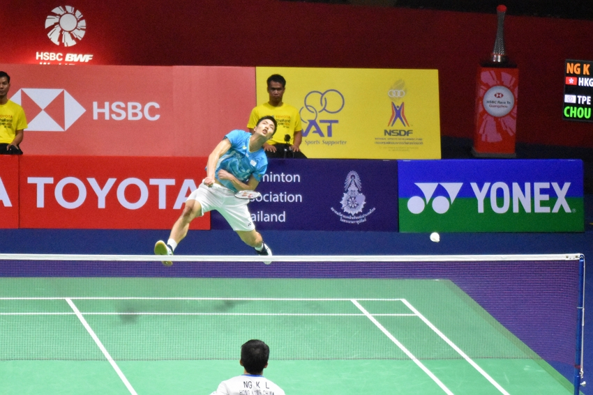 Taiwan badminton ace Chou Tien-chen unleashes a smash in the final of the men's singles at the Thailand Open Aug. 4 in Bangkok. (CNA)