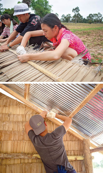 ELIV groups build squat toilets and houses using locally purchased sustainable materials such as bamboo and palm fronds. (Photos courtesy of ELIV Co.)