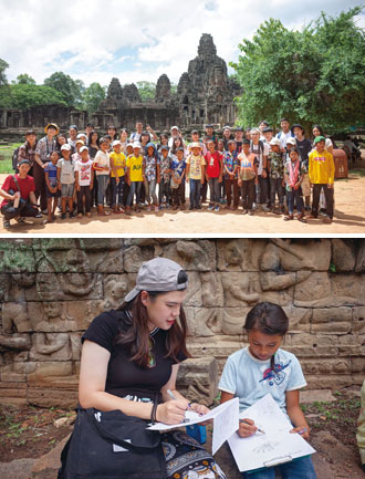 Children from a rural community are taken by ELIV team members on a day trip to Angkor Archaeological Park. (Photos courtesy of ELIV Co.)
