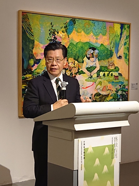 "Representative Francis Liang giving his address at the opening of the ""Taiwan in Full Bloom: Contemporary Arts of Taiwan"" exhibition."