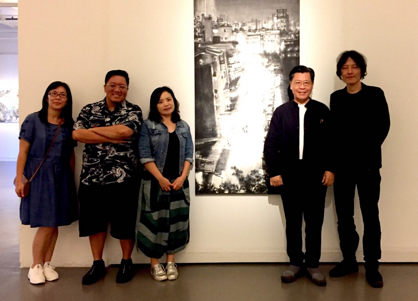 "Representative Francis Liang with exhibition curator, Ms.  Chang Ya-Wen (third from right) and artists Ho Huey-Chih (extreme left), Lin Bao-Ling (extreme right) and Liao Yu-An (second from left) at the ""Taiwan in Full Bloom: Contemporary Arts of Taiwan"" exhibition."