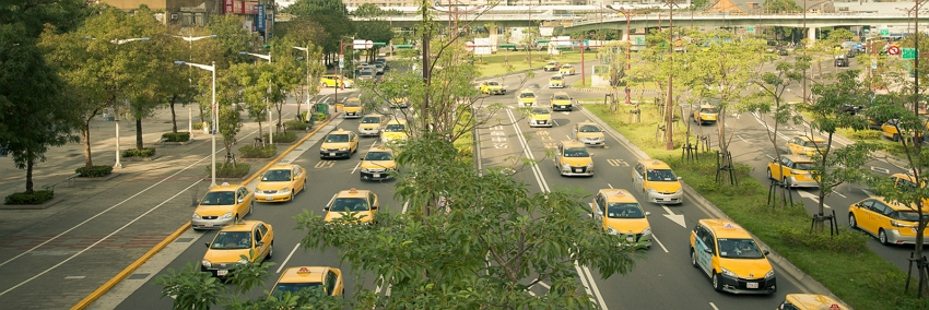 Photographer Craig Ferguson waits many hours to line up the perfect shot such as this one of taxis filling the streets of Taipei City. (Photos courtesy of Craig Ferguson)
