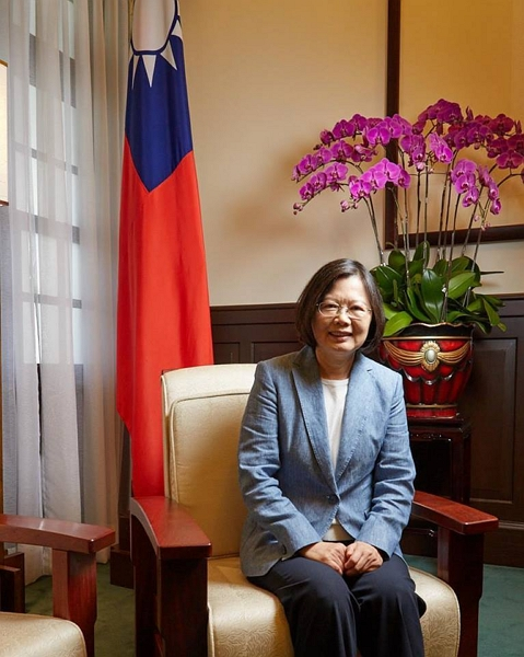 President Tsai Ing-wen is all smiles in this shot taken by Ferguson on assignment from The Wall Street Journal in 2016 at the Presidential Office in Taipei.