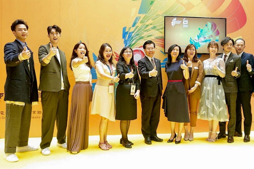 Representative Francis Kuo-Hsin Liang (center) with Ms. Chen Su-Man (fifth from left),  Head, Broadcasting Affairs Division of the ROC Bureau of Audiovisual and Music Industry Development,  Ms. Hu Ching-Fang (fifth from right), President, Taiwan Creative Content Agency, and participants at the Asia TV Market and Forum.