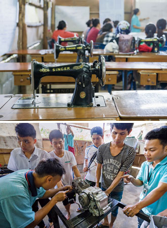 Tailoring and automotive repair classes are arranged for young women and men at Mae La camp. (Photos by Chin Hung-hao)