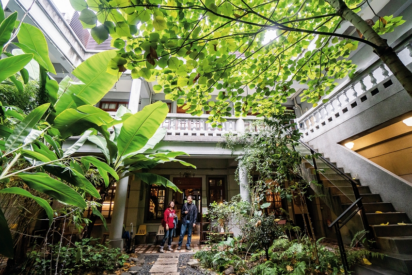 In the courtyard homes behind old shops on Dihua Street, there are open-air spaces that are made even greener through design. (photo by Lin Min-hsuan)