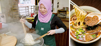 Halima Chang, owner of Chang Beef Noodle in Taipei makes her halal version of beef noodles, a popular dish in Taiwan. (Photos by Chin Hung-hao)