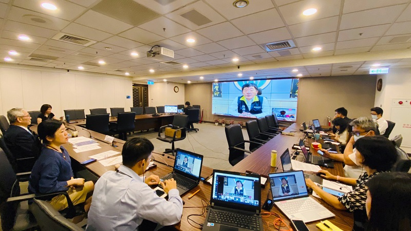 Chen Shih-chung, minister of health and welfare and commander of the CECC, addresses participants during a TaiwanICDF-Terre des Hommes virtual forum on COVID-19 contact tracing technology app tracking May 19 in Taipei City. (Courtesy of TaiwanICDF)