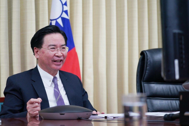 MOFA Minister Jaushieh Joseph Wu shares his thoughts on Taiwan's role in the world as the country enters a new life post-pandemic during the Brussels Forum June 9 in Taipei City. (MOFA)