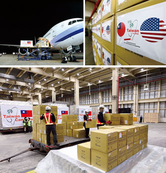 A further six million medical masks are loaded for transport to severely hit states in the U.S.; EU members in central, eastern and northern Europe; countries in the Caribbean and Latin America; as well as New Southbound Policy target nations. (Photos by Chen Mei-ling)