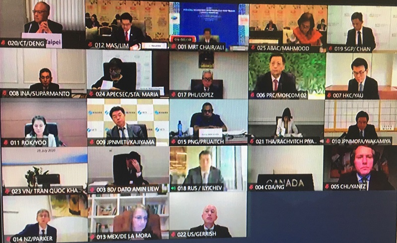 Minister without Portfolio John Deng (top left) joins his counterparts from 20 other member economies during a virtual APEC Ministers Responsible for Trade Meeting July 25. (Courtesy of Office of Trade Negotiations, Executive Yuan)