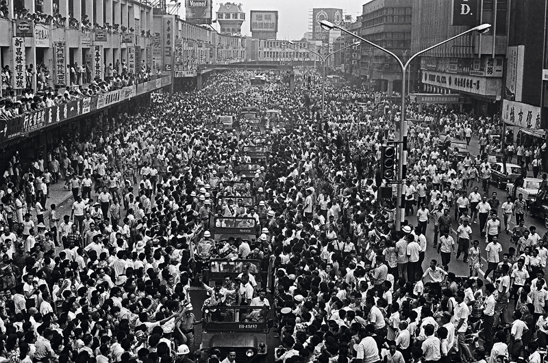 In 1971 the Tainan Giants won the Little League World Series in Williamsport, Pennsylvania. The champions were passionately welcomed during a parade past Taipei's Zhonghua Market. (courtesy of the Ministry of Foreign Affairs)