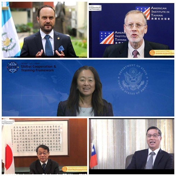 (Bottom right, counter clockwise) Vice Minister Miguel Li-jey Tsao, PDAS Julie Chung, AIT Director Brent Christensen, Guatemala Foreign Minister Pedro Brolo and JTEA Chief Representative Hiroyasu Izumi take part in the first GCTF for Latin America and the Caribbean Sept. 9 via the internet. (MOFA)