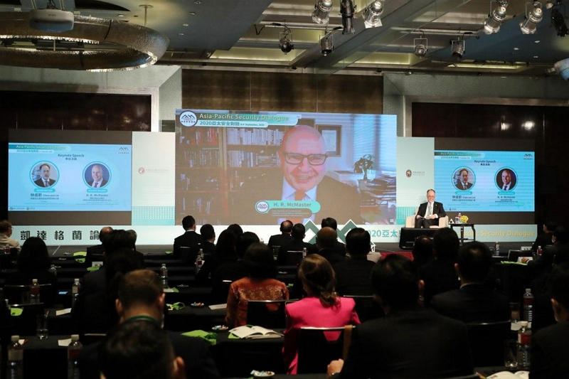 Ex-U.S. National Security Advisor H. R. McMaster delivers his keynote speech via videoconference during the Ketagalan Forum: 2020 Asia-Pacific Security Dialogue Sept. 8 in Taipei City. (MOFA)