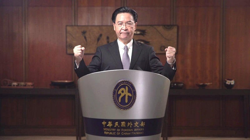 MOFA Minister hammers home the message that the government and people of Taiwan are committed to defending the country's free and democratic way of life during his virtual remarks at the GTI Annual Symposium Sept. 15 in Washington. (MOFA)