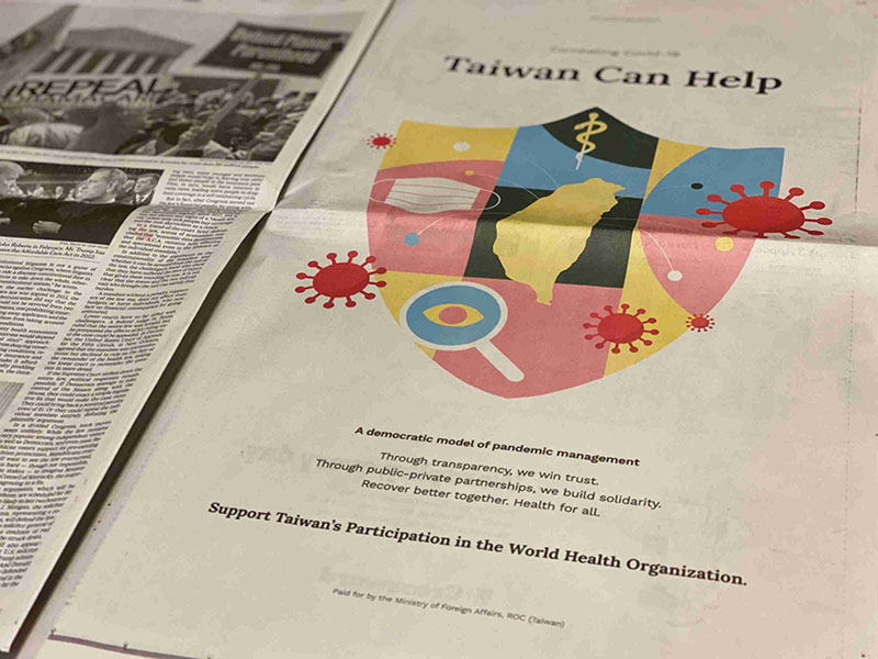 A full-page ad calling for Taiwan's WHO participation is displayed in the Nov. 9 edition of The New York Times. (Courtesy of Taipei Economic and Cultural Office in New York)