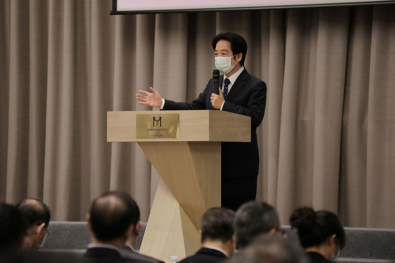 Vice President Lai Ching-te praises contributions of Taiwan's biotechnology and medical care industries during the IBMI annual assembly Jan. 4 in Taipei City. (Courtesy of Presidential Office)