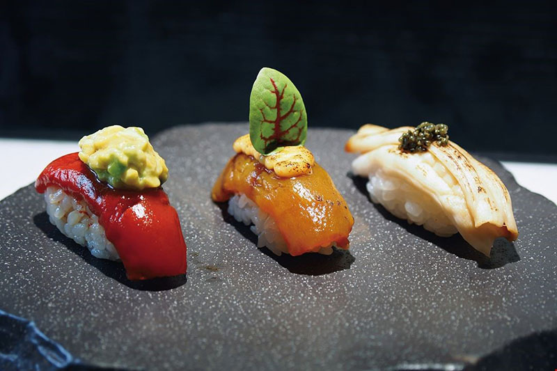 """Consumers who eat vegetarian tuna with avocado sushi, broiled spicy billfish sushi, and geoduck with caviar sushi all react the same way: """"Just like the real thing!"""""""
