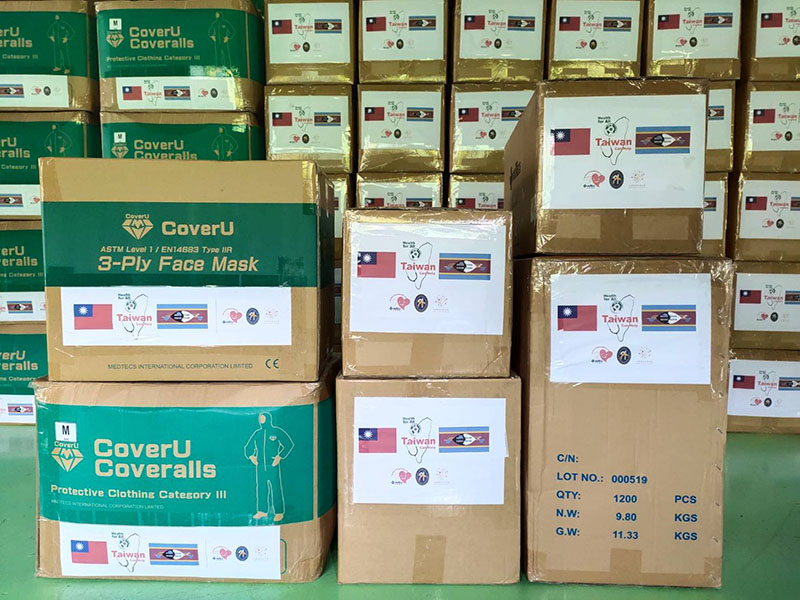A large-scale donation of COVID-19 PPE facilitated by the Ministry of Foreign Affairs in conjunction with TSMC Charity Foundation and Medtecs Group is bound for Taiwan's Africa ally Kingdom of Eswatini, Caribbean ally St. Lucia and Horn of Africa partner Somaliland. (MOFA)