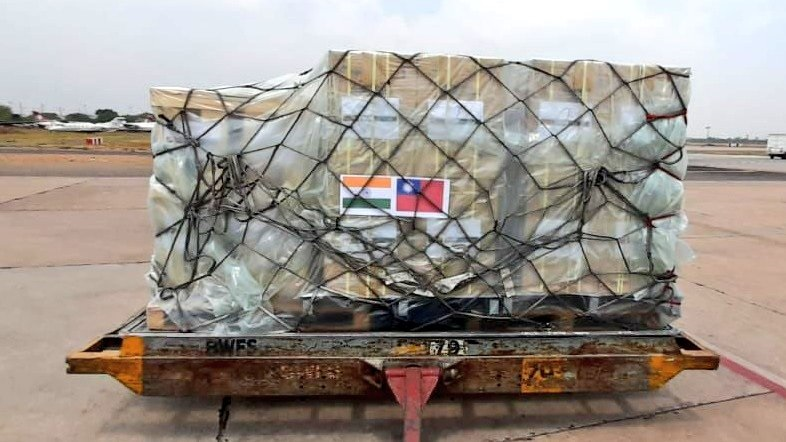 A shipment of Love from Taiwan medical supplies awaits distribution May 2 in New Southbound Policy target country India. (MOFA)